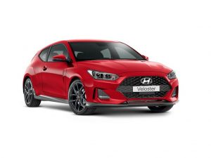 Hyundai Veloster front right side view, red color