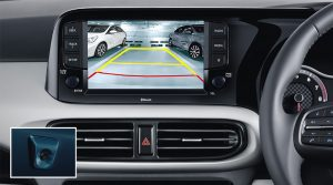 Hyundai_GRAND_i10_2021, Rear parking camera with display on 20.25 cm screen aids in parking the car in tight spots.