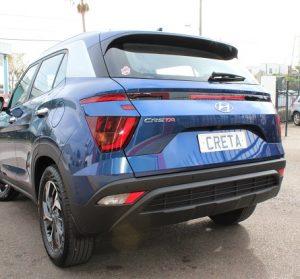 Hyundai Creta 2021, rear view, blue color, outside of Auto Solutions showroom