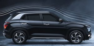 hyundai creta 2021, Aerodynamic design, sloping roof profile reduces forward air flow resistance and rear spoiler effect for improved fuel economy and driving stability