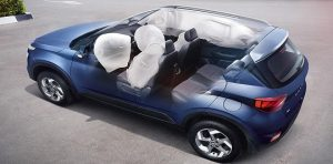 HYUNDAI VENUE Dual front airbags, front seat side- impact and side curtain airbags work together with the seat belts to take the safety of the vehicle to an un-parallel level.