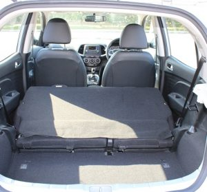 Hyundai Atos website interior rear view, rear seat folded down