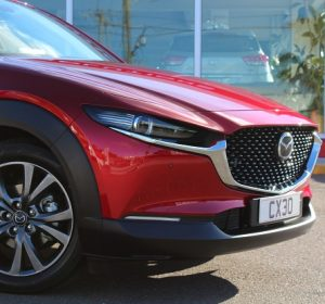 Mazda CX-30 website grill close up view