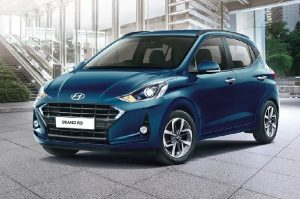 Hyundai Grand i10 diagonal parked, blue color, front left side view